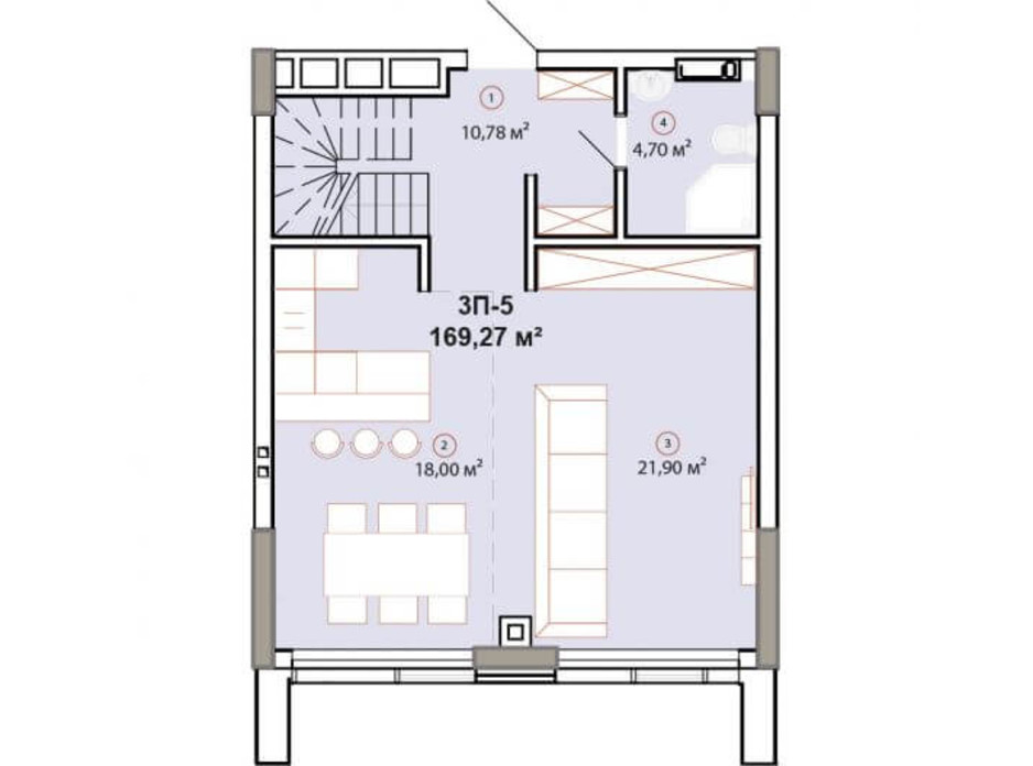 Планування багаторівневої квартири в ЖК Edelweiss House 169.27 м², фото 225138