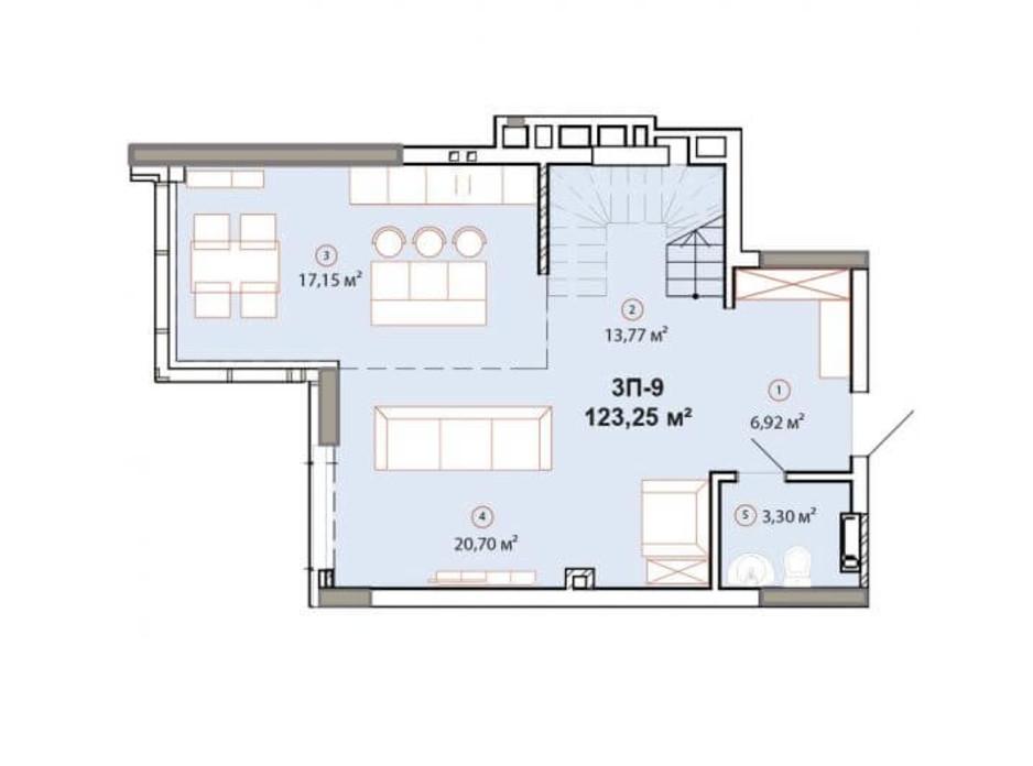 Планування багаторівневої квартири в ЖК Edelweiss House 123.47 м², фото 225143