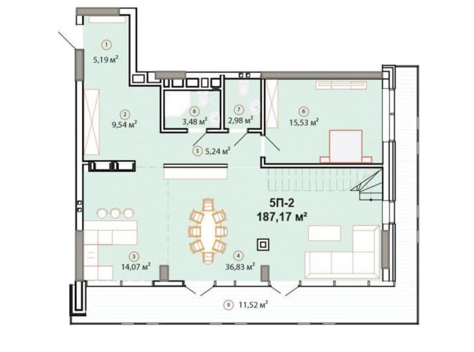 Планування багаторівневої квартири в ЖК Edelweiss House 187.17 м², фото 225158