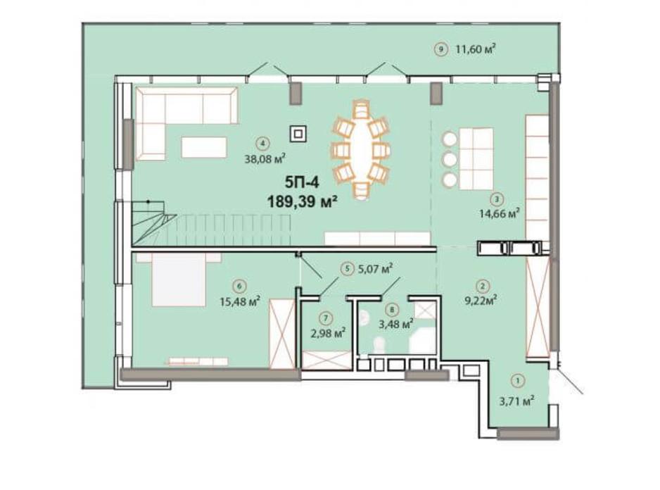 Планування багаторівневої квартири в ЖК Edelweiss House 189.39 м², фото 225159