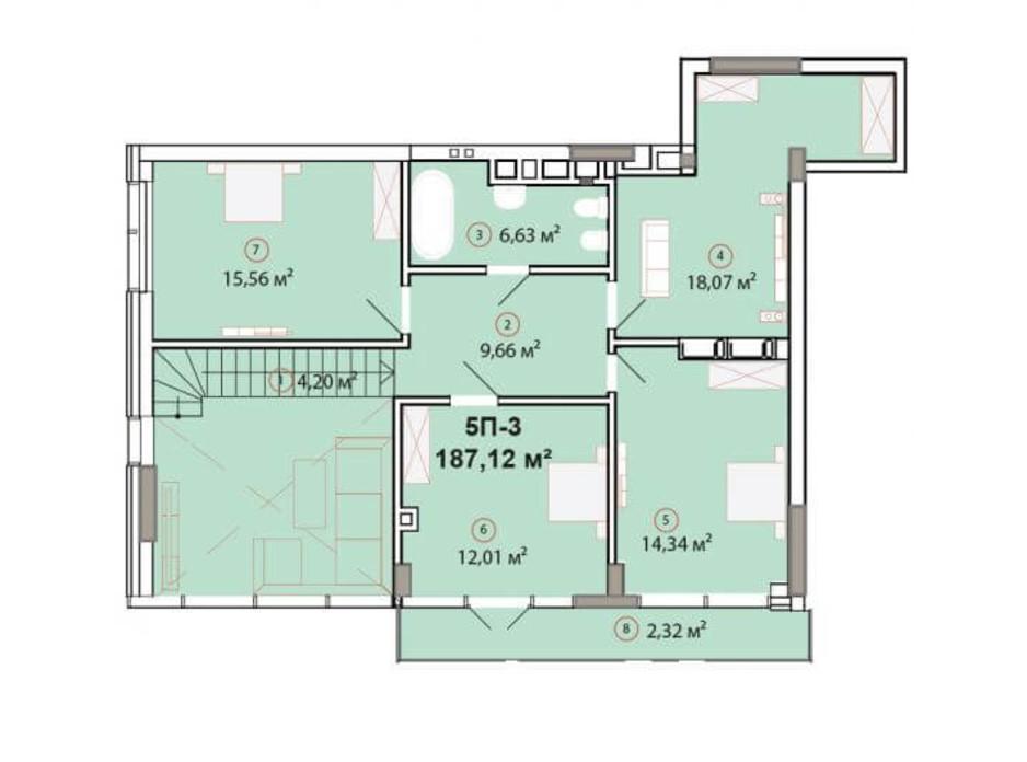 Планування багаторівневої квартири в ЖК Edelweiss House 187.12 м², фото 225162