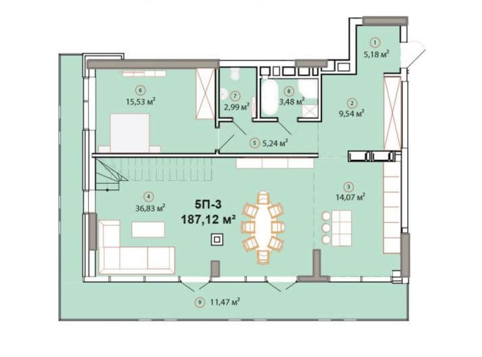Планування багаторівневої квартири в ЖК Edelweiss House 187.12 м², фото 225165
