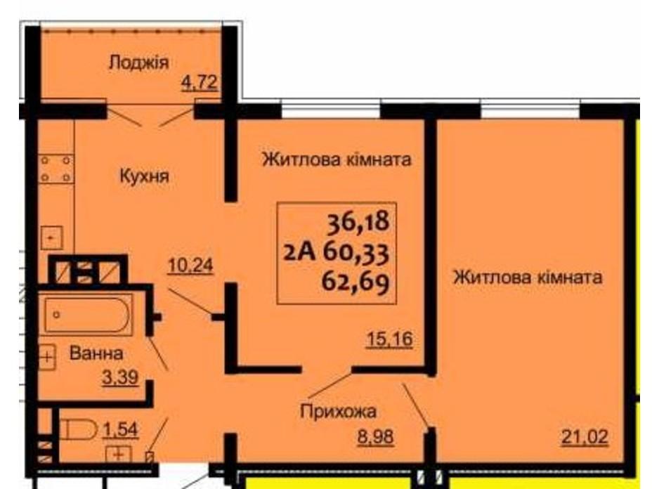 Планировка 2-комнатной квартиры в ЖК Варшавский 62.69 м², фото 225196