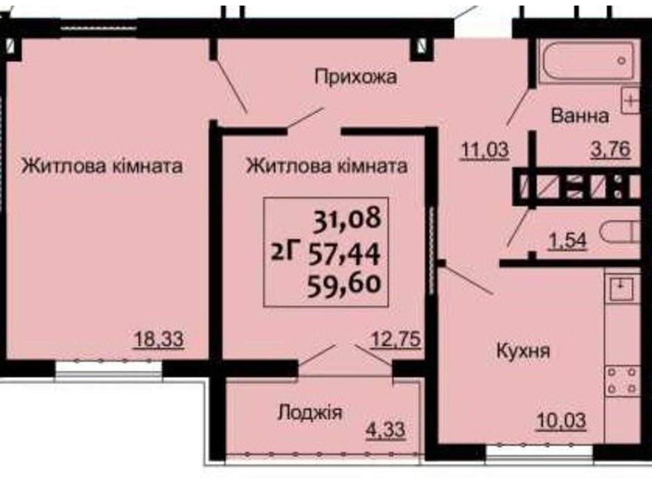 Планировка 2-комнатной квартиры в ЖК Варшавский 59.6 м², фото 225199