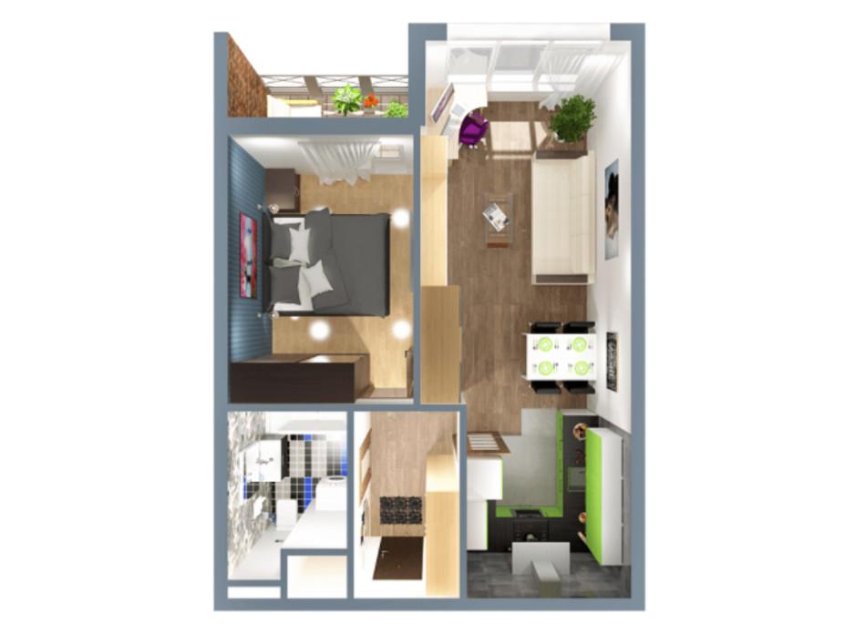 Планування 1-кімнатної квартири в ЖК А12 на Олимпійській 40 м², фото 225549