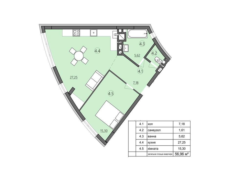 Планировка 1-комнатной квартиры в ЖК Там где дом 56.96 м², фото 225574
