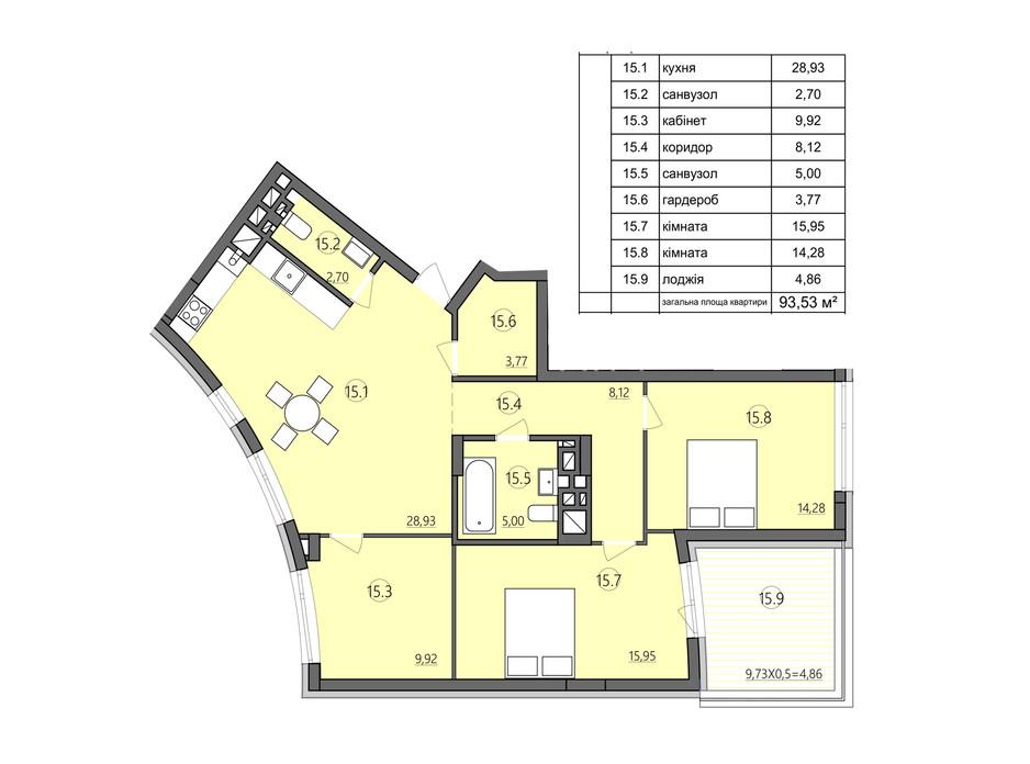 Планировка 3-комнатной квартиры в ЖК Там где дом 93.53 м², фото 225575