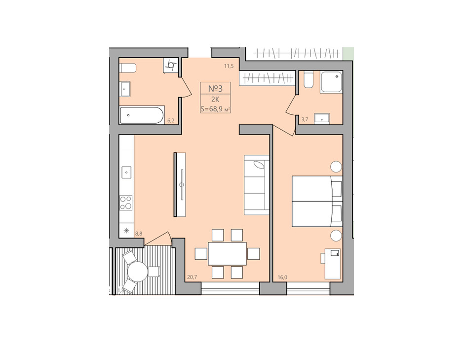 Планування 2-кімнатної квартири в ЖК ЕкоДім 68.9 м², фото 225583