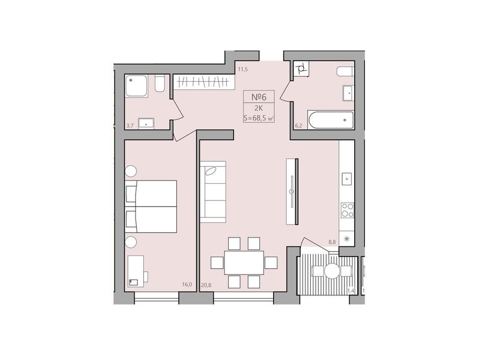 Планування 2-кімнатної квартири в ЖК ЕкоДім 68.5 м², фото 225586