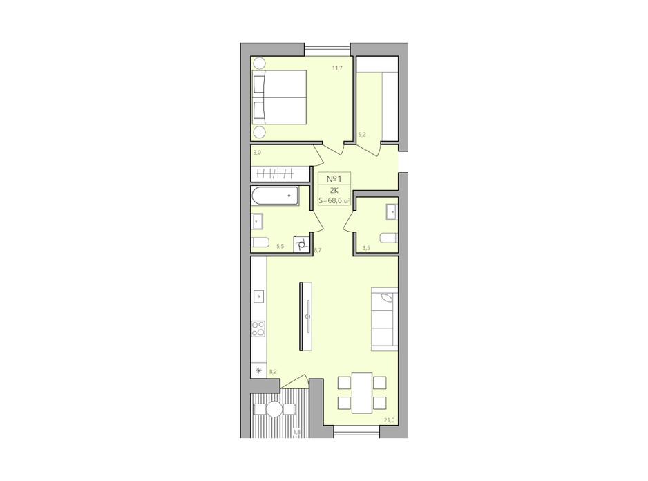 Планування 2-кімнатної квартири в ЖК ЕкоДім 68.6 м², фото 225587