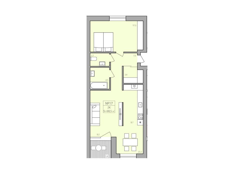 Планування 2-кімнатної квартири в ЖК ЕкоДім 69.7 м², фото 225588
