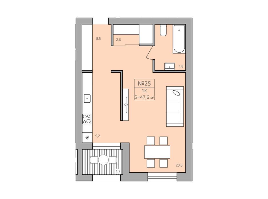 Планування 1-кімнатної квартири в ЖК ЕкоДім 47.3 м², фото 225589