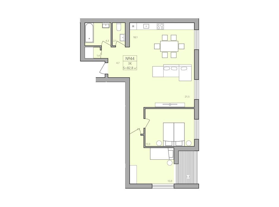 Планування 3-кімнатної квартири в ЖК ЕкоДім 82.8 м², фото 225590