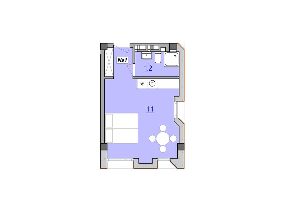 Планировка 1-комнатной квартиры в Апарт-комплекс Кампус 28 м², фото 225596