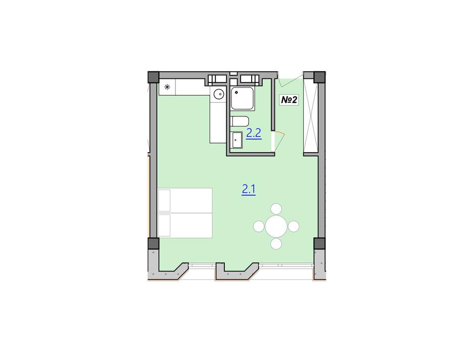 Планировка 1-комнатной квартиры в Апарт-комплекс Кампус 37.6 м², фото 225598