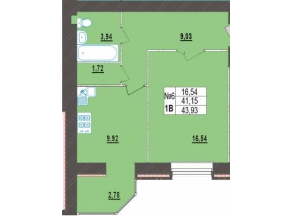 Планування 1-кімнатної квартири в ЖК Левада Нова 43.93 м², фото 225719