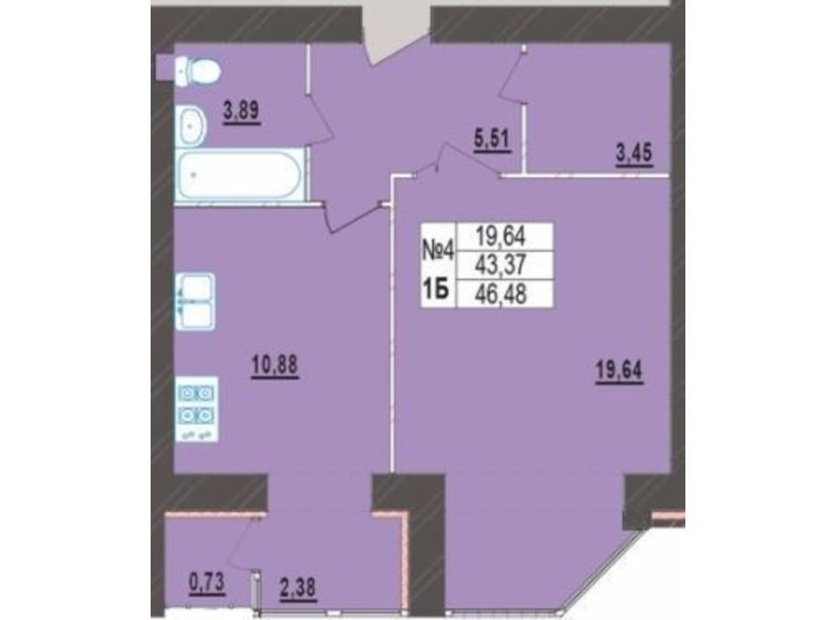 Планування 1-кімнатної квартири в ЖК Левада Нова 46.48 м², фото 225720