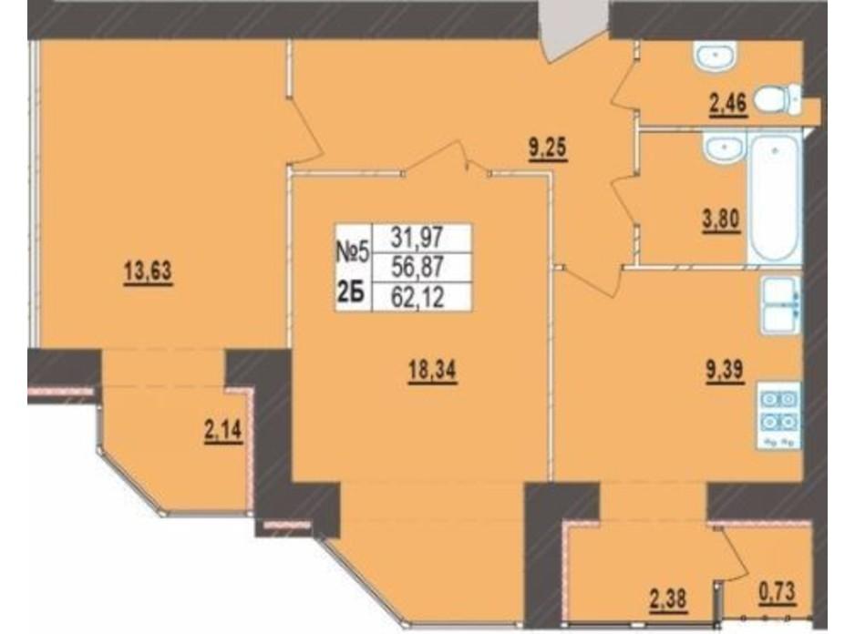 Планування 2-кімнатної квартири в ЖК Левада Нова 62.12 м², фото 225721