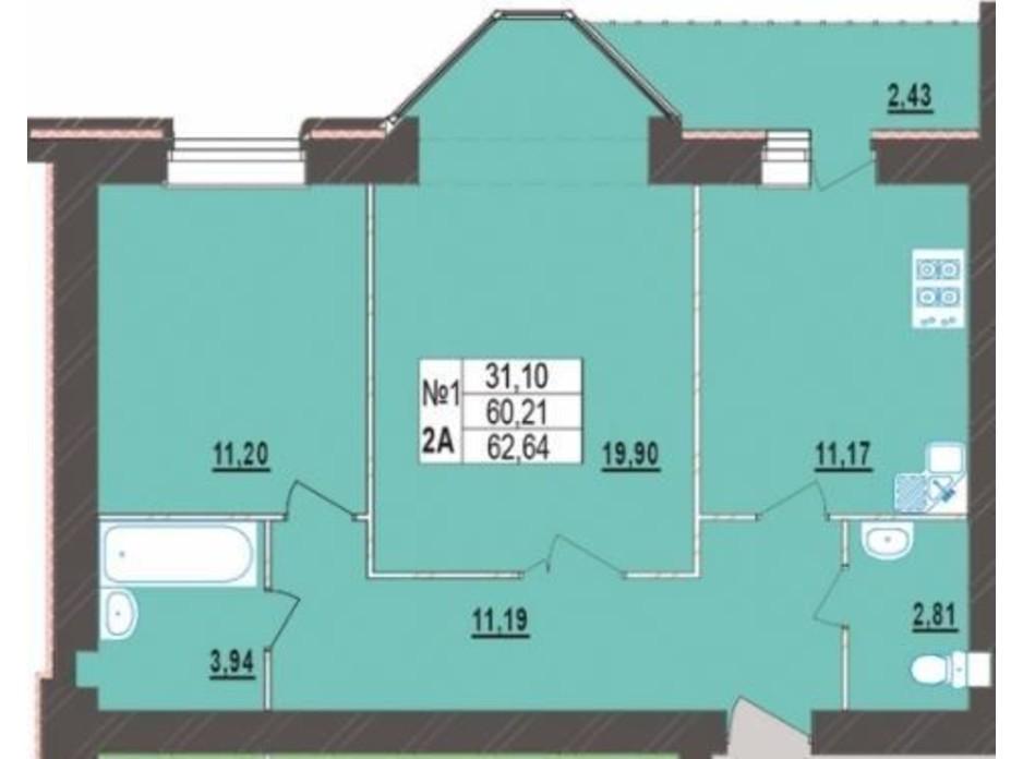 Планування 2-кімнатної квартири в ЖК Левада Нова 62.64 м², фото 225722