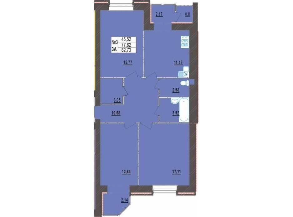 Планировка 3-комнатной квартиры в ЖК Левада Новая 82.73 м², фото 225723