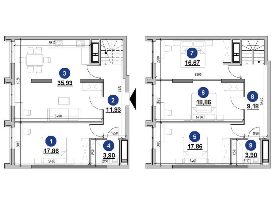 Планування багаторівневої квартири в ЖК Nordica Residence 136.09 м², фото 225730