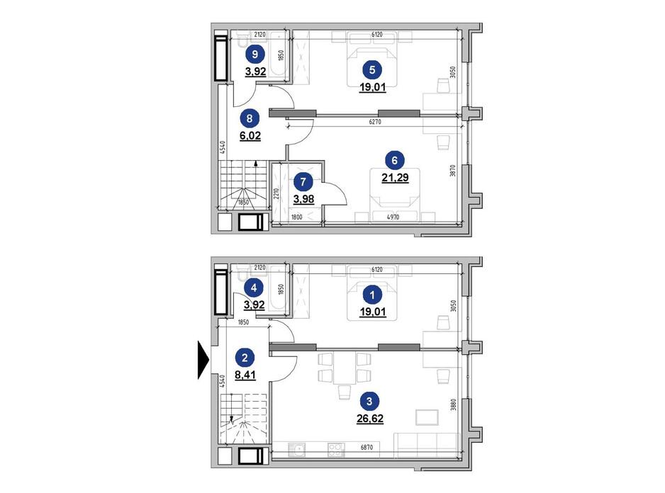 Планування багаторівневої квартири в ЖК Nordica Residence 112.18 м², фото 225736