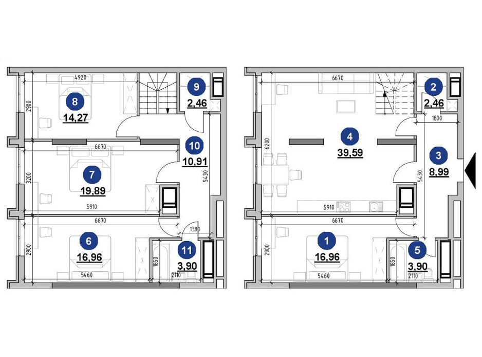 Планування багаторівневої квартири в ЖК Nordica Residence 140.29 м², фото 225737