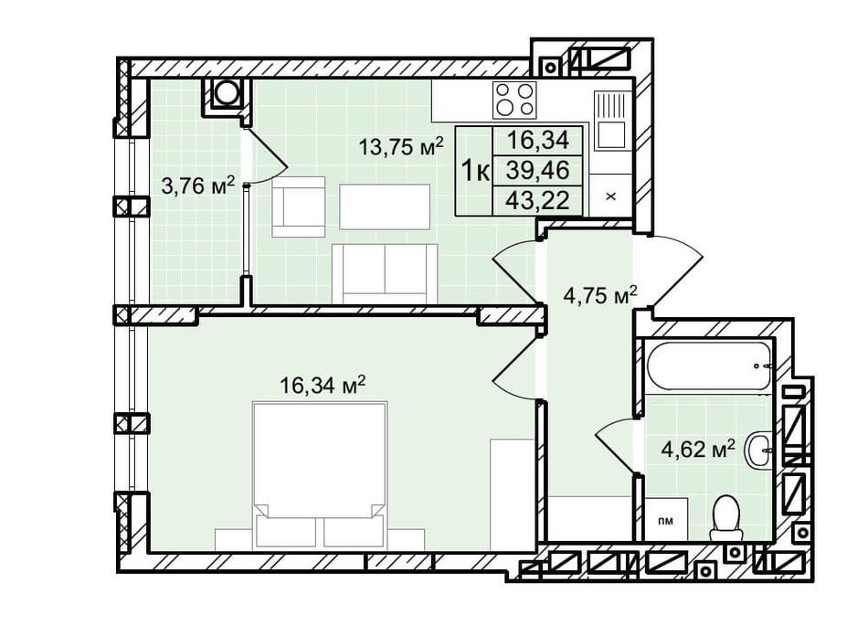 Планування 1-кімнатної квартири в ЖК Софіївка 43.2 м², фото 225794