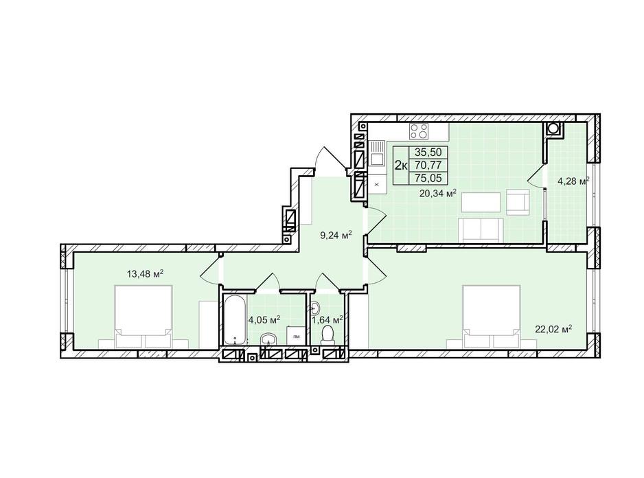 Планування 2-кімнатної квартири в ЖК Софіївка 75.1 м², фото 225803