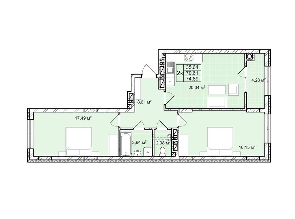 Планування 2-кімнатної квартири в ЖК Софіївка 74.9 м², фото 225805