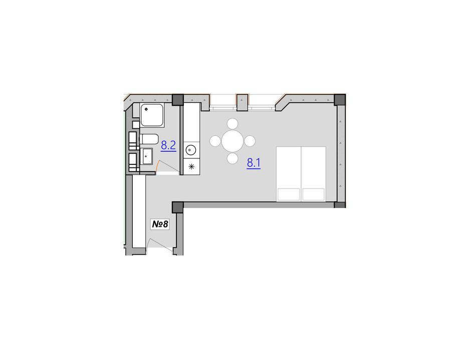 Планировка 1-комнатной квартиры в Апарт-комплекс Кампус 27.4 м², фото 225978