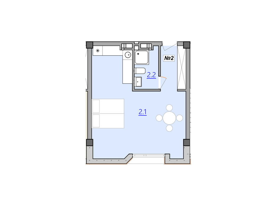 Планировка 1-комнатной квартиры в Апарт-комплекс Кампус 38 м², фото 225981