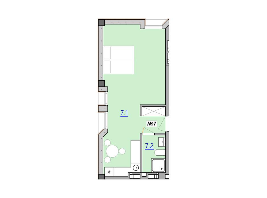 Планировка 1-комнатной квартиры в Апарт-комплекс Кампус 36.1 м², фото 225983