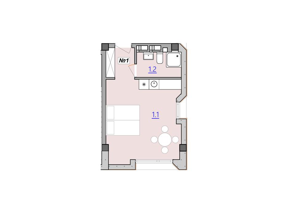 Планування 1-кімнатної квартири в Апарт-комплекс Кампус 28.1 м², фото 225984