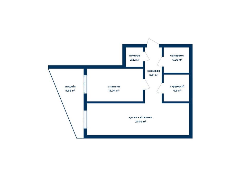 Планировка 2-комнатной квартиры в КД Liverpool House 54.77 м², фото 226097