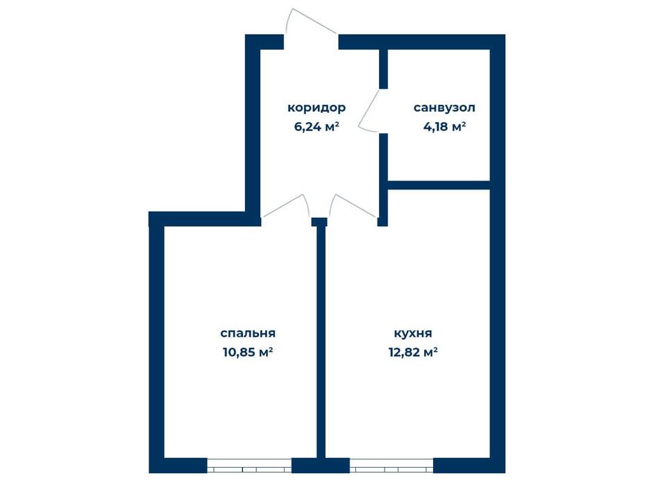 Планировка 1-комнатной квартиры в КД Liverpool House 34.09 м², фото 226107