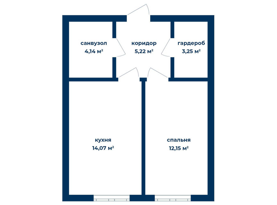 Планировка 1-комнатной квартиры в КД Liverpool House 38.86 м², фото 226113