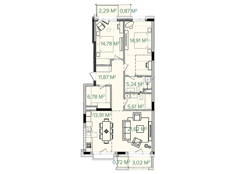 Планування 3-кімнатної квартири в ЖК Illinsky House 105.71 м², фото 226157