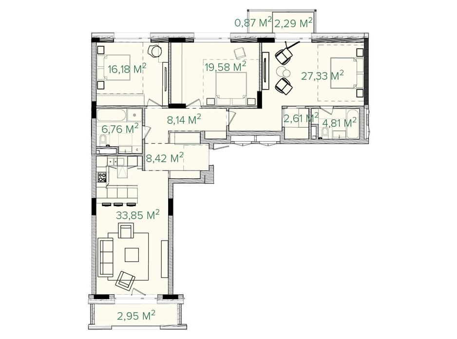 Планування 3-кімнатної квартири в ЖК Illinsky House 133.19 м², фото 226158