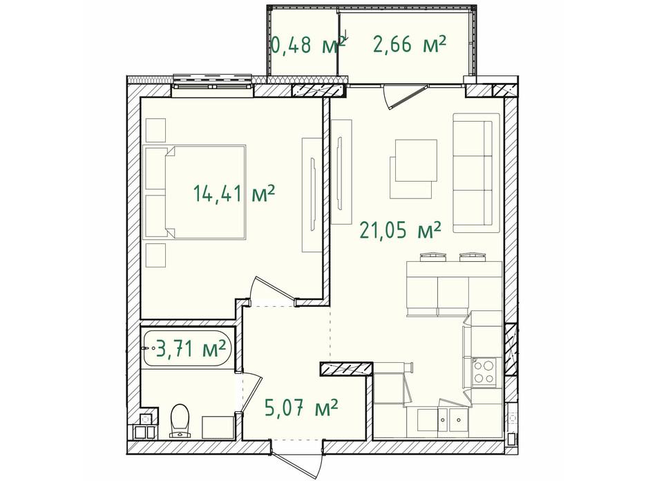 Планування 1-кімнатної квартири в ЖК Illinsky House 47.38 м², фото 226166