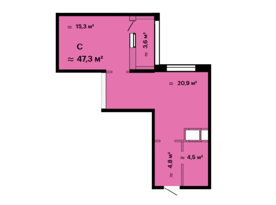 Планування смарт квартири в ЖК Скай Сіті 47.3 м², фото 226520