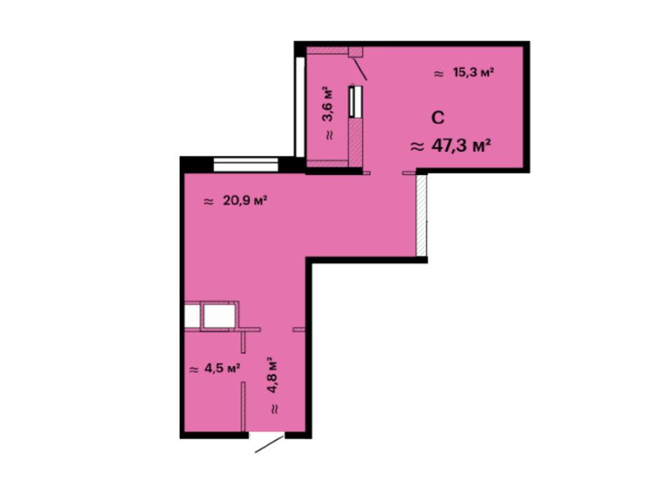 Планування смарт квартири в ЖК Скай Сіті 47.3 м², фото 226529