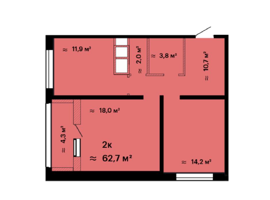 Планування 2-кімнатної квартири в ЖК Скай Сіті 62.7 м², фото 226531