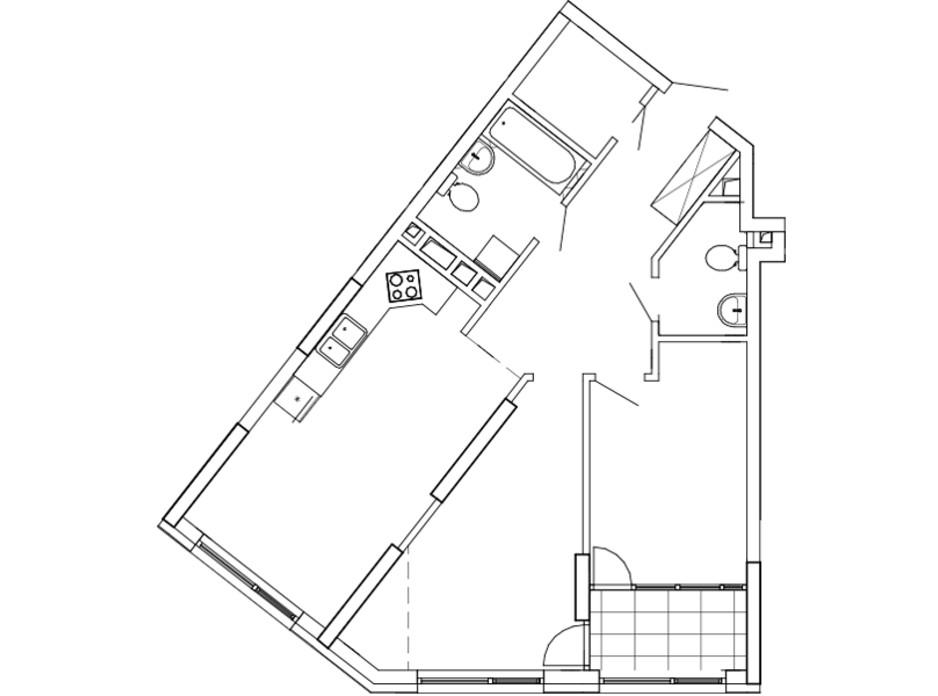Планировка 2-комнатной квартиры в ЖК Great 74.26 м², фото 226743