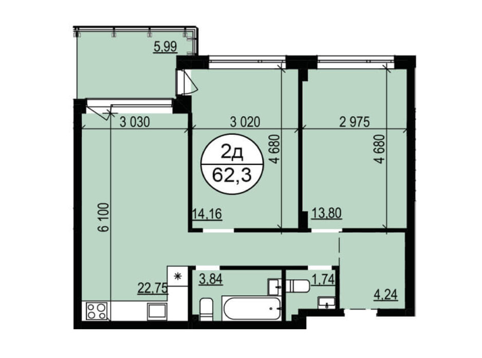 Планування 2-кімнатної квартири в ЖК Грінвуд-2 61.6 м², фото 226758