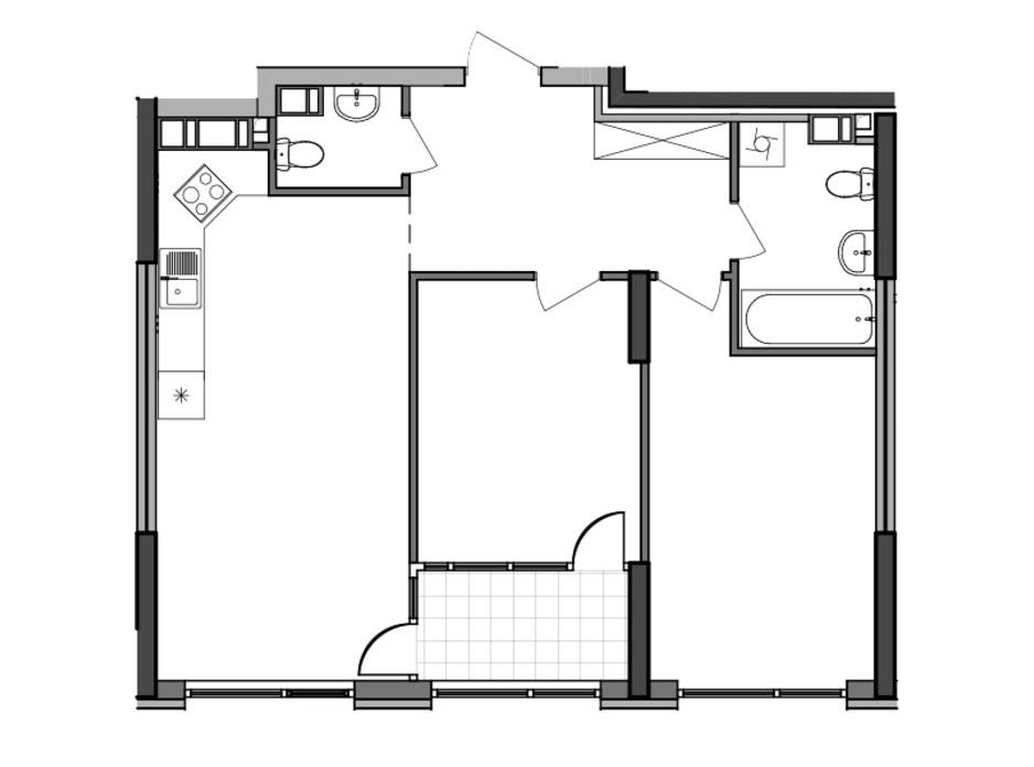Планування 2-кімнатної квартири в ЖК Great (Грейт) 70.48 м², фото 226780