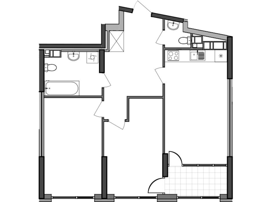 Планування 2-кімнатної квартири в ЖК Great 76.55 м², фото 226781