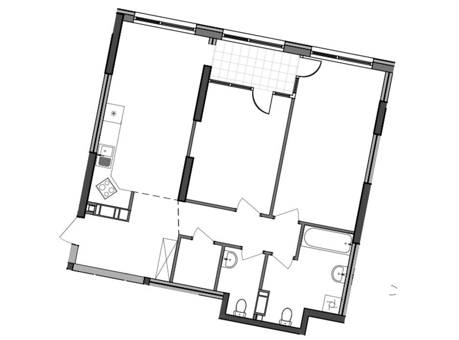 Планировка 2-комнатной квартиры в ЖК Great 83.26 м², фото 226784