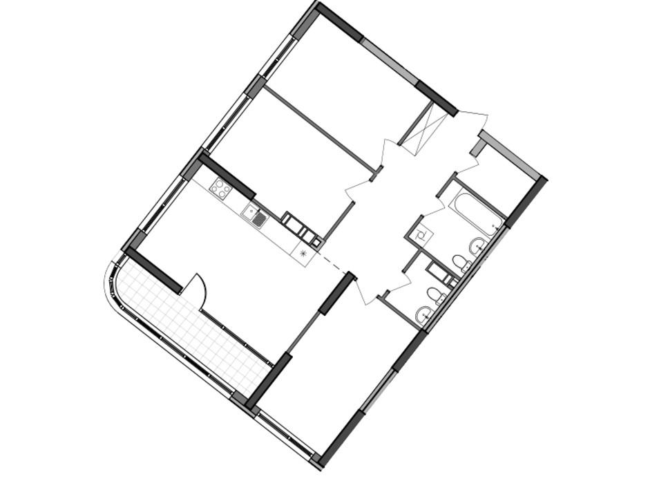 Планировка 3-комнатной квартиры в ЖК Great 96.82 м², фото 226796