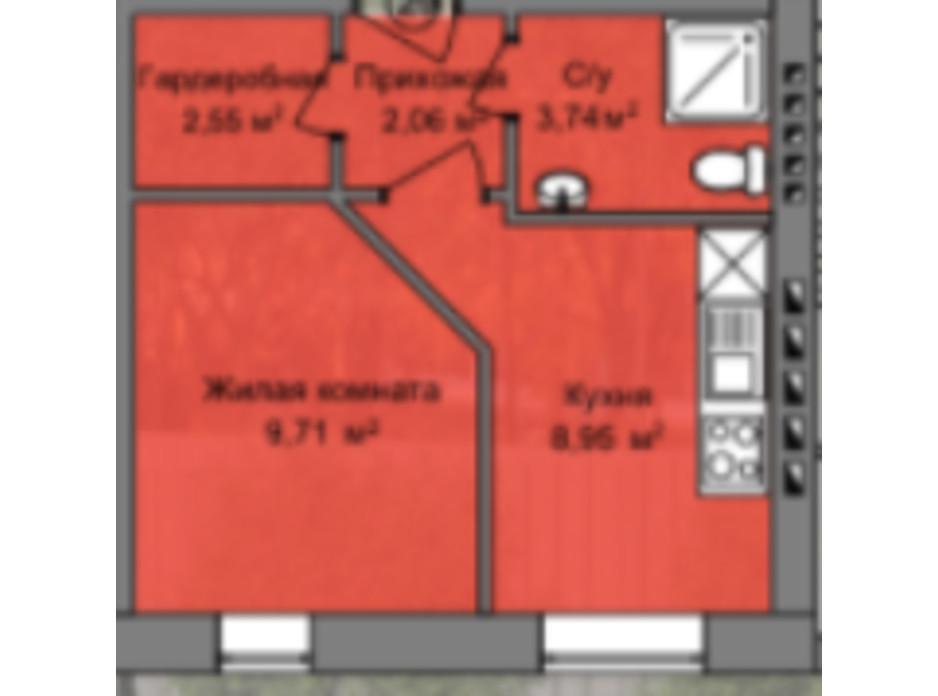 Планировка 1-комнатной квартиры в КД Березинский 27.01 м², фото 226860